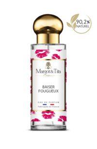 Parfum 30ml Baiser fougueux de la marque Margot&Tita. Senteur florale composée en tête de jasmin, cypriol, orange, en cœur de fleur d'héliotrope, abricot et en fond vanille, musqué, santal, boisé.
