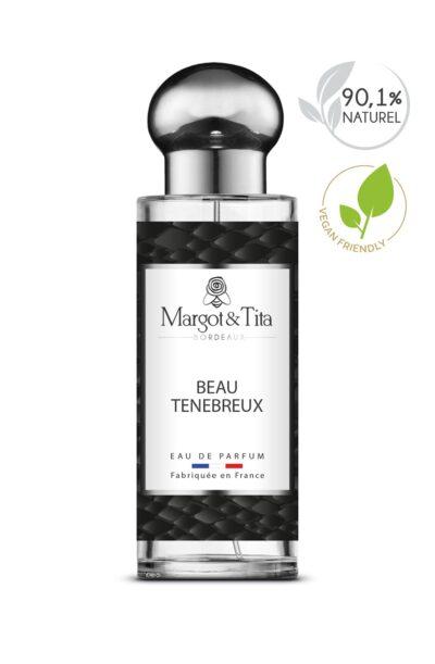 Parfum 30ml Beau ténébreux de la marque Margot&Tita. Senteur boisée composée en tête de cèdre, mandarine, lavande et baies roses, en cœur de cannelle, clous de girofle, ambre gris, galbanum et en fond boisé, musqué, vanillé.