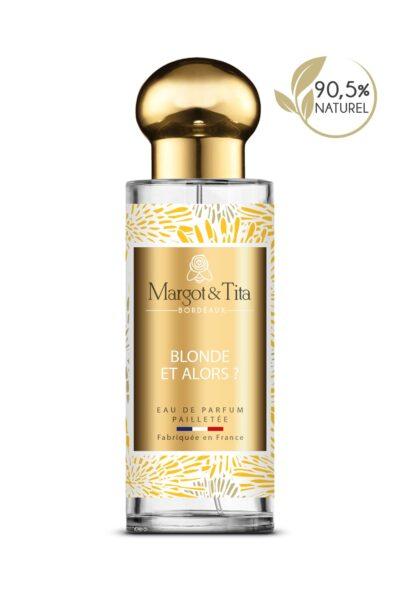 Parfum 30ml Blonde et alors de la marque Margot&Tita. Senteur florale composée en tête de citron, bergamote, cardamome, en cœur de rose, pivoine, noix de muscade, poivre et en fond patchouli, musqué, mousse, ambré.