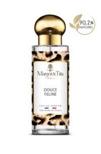 Parfum 30ml Douce féline de la marque Margot&Tita. Senteur orientale composée en tête de bergamote, ylang-ylang, en cœur de lavande, jasmin, santal et en fond patchouli, vanille, musqué, solaire.