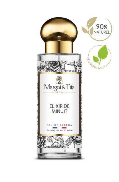 Parfum 30ml Elixir de minuit de la marque Margot&Tita. Senteur orientale composée en tête de rose, poire, mandarine, pivoine, en cœur de café, jasmin, fleurs solaires et en fond vanille, musqué, fève tonka, boisé.