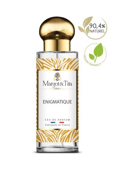 Parfum 30ml Enigmatique de la marque Margot&Tita. Senteur florale composée en tête de neroli, bergamote, en cœur de jasmin, fleur d'oranger, miel et en fond musc blanc, cèdre, patchouli.
