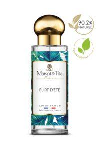 Parfum 30ml Flirt d'été de la marque Margot&Tita. Senteur fruitée composée en tête de melon, orange, citron, en cœur de pêche, jasmin, poire, pastèque et en fond magnolia, pomme, musqué.