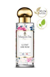 Parfum 30ml Il était une rose de la marque Margot&Tita. Senteur florale composée en tête de mandarine, citron, rose, en cœur de jasmin, violette, géranium, rose et en fond framboise, musqué, ambré.