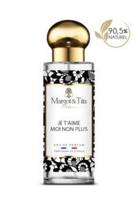 Parfum 30ml Je t'aime moi non plus de la marque Margot&Tita. Senteur florale composée en tête de poire, rose, davana, bergamote, en cœur de patchouli, jasmin, mûre et en fond praline, vanille, boisé, musqué.