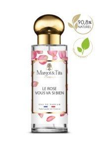 Parfum 30ml Le rose vous va si bien de la marque Margot&Tita. Senteur florale composée en tête de rose, bergamote, galbanum, en cœur de cèdre, magnolia, poudré et en fond pivoine, moringa, musqué, boisé.
