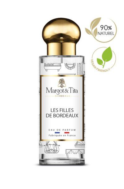 Parfum 30ml Les filles de Bordeaux de la marque Margot&Tita. Senteur florale composée en tête de bergamote, rose, en cœur de poudre de riz, géranium, orange et en fond violette, vanille, poudré, musqué.