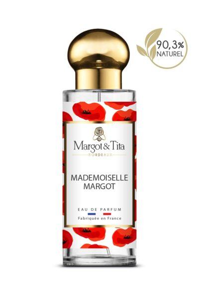 Parfum 30ml Mademoiselle Margot de la marque Margot&Tita. Senteur florale composée en tête de bergamote, citron, cèdre, en cœur santal, jasmin, mûre et en fond musqué, solaire, vanillé.
