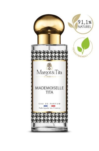 Parfum 30ml Mademoiselle Tita de la marque Margot&Tita. Senteur orientale composée en tête de citron, orange, freesia, en cœur rose, jasmin, pivoine et en fond vétiver, patchouli, santal.