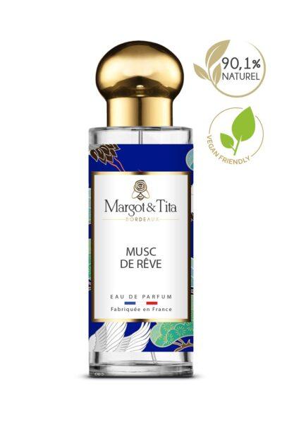 Parfum 30ml Musc de rêve de la marque Margot&Tita. Senteur musquée composée en tête de ylang-ylang, coriandre, en cœur jasmin, rose, pivoine, patchouli et en fond fève tonka, musc, benjoin.