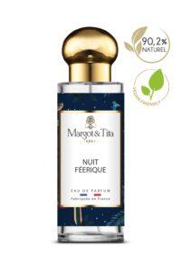 Parfum 30ml Nuit féérique de la marque Margot&Tita. Senteur orientale composée en tête de mandarine, bergamote, encens, en cœur cèdre, vanille, jasmin, poivre et en fond ambré, musqué, benjoin.