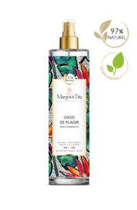 Brume parfumée vegan Oasis de plaisir de 150ml de la marque Margot&Tita. Senteur fruitée composée en tête de citron, bergamote, pamplemousse, fruit de la passion, en cœur de pivoine, orchidée, pomme, poire et en fond muguet, musc, boisé, jasmin.