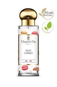 Parfum 30ml Petit caprice de la marque Margot&Tita. Senteur gourmande composée en tête de coriandre, bergamote, orange, en cœur praline rose, fleurs blanches et en fond vanillé, musqué, fève tonka.