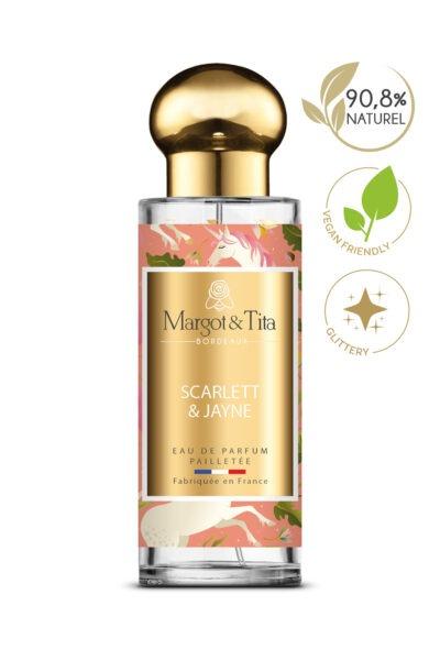 Parfum 30ml Scarlett & Jayne de la marque Margot&Tita. Senteur florale composée en tête de citron, mandarine, bergamote, poire, en cœur rose, pivoine, patchouli et en fond musqué, boisé, ambré.