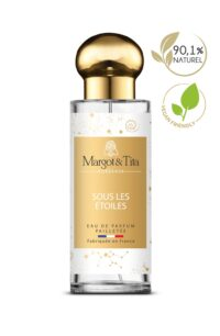 Parfum 30ml Sous les étoiles de la marque Margot&Tita. Senteur fruitée composée en tête de cerise, bergamote, mandarine, en cœur fruits rouges, orchidée, rose et en fond vanille, santal, musqué.