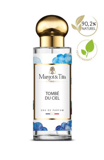 Parfum 30ml Tombé du ciel de la marque Margot&Tita. Senteur fruitée composée en tête d'orange, pamplemousse, fleur d'oranger, en cœur patchouli, framboise, pêche et en fond vanille, musc, gourmand.