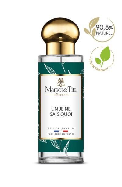 Parfum 30ml Un je ne sais quoi de la marque Margot&Tita. Senteur agrumes composée en tête de citron, bergamote, gingembre, en cœur de thé, coriandre, menthe, thym et en fond musqué, jasmin, pivoine.