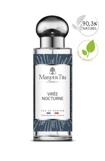 Parfum 30ml Virée nocturne de la marque Margot&Tita. Senteur boisée composée en tête de citron, bergamote, sauge, en cœur de bois cachemire, vetiver, cèdre et en fond ambré, boisé, santal.