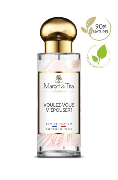 30ml perfume Would you like to marry me? from the brand Margot&Tita. Floral scent composed on top of bergamot, coriander and rose. In heart tea leaves, jasmine and in base woody, musky, floral.