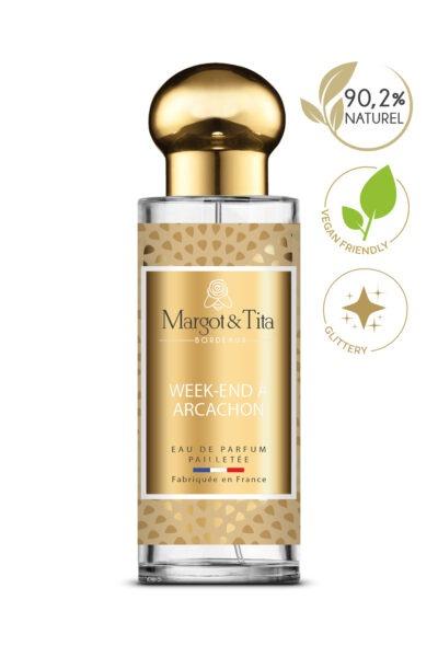 Parfum 30ml Week-end à Arcachon de la marque Margot&Tita. Senteur florale composée en tête d'orange, mandarine, ylang-ylang, en cœur coriandre, noix de coco, fleur de tiaré et en fond notes solaires, vanille, jasmin.
