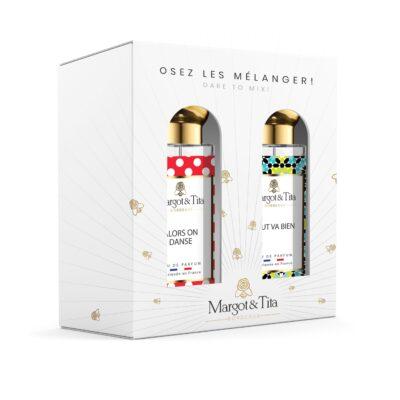 """Coffret cadeau duo MIX AND MATCH. 2 parfums de 30ml """"Alors on danse"""" et """"Tout va bien"""" par Margot&Tita. Découvrez une rencontre gourmande et fruitée."""