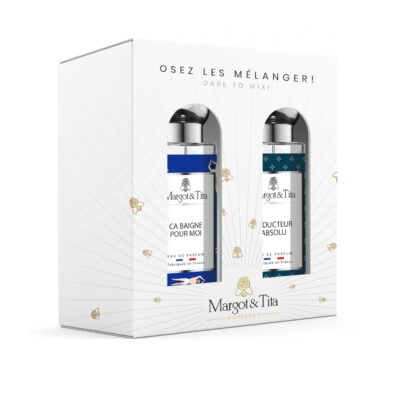 """Coffret cadeau duo MIX AND MATCH. 2 parfums de 30ml """"Ça baigne pour moi"""" et """"Séducteur absolu"""" par Margot&Tita. Découvrez une rencontre aquatique et boisée."""
