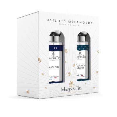 """Coffret cadeau duo MIX AND MATCH. 2 parfums de 30ml """"Dandy chic"""" et """"Séducteur absolu"""" par Margot&Tita. Découvrez une rencontre boisée et aromatique."""