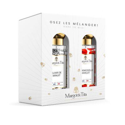 """Coffret cadeau duo MIX&MATCH. 2 parfums de 30ml """"Elixir de minuit"""" et """"Mademoiselle Margot"""" par Margot&Tita. Découvrez une rencontre gourmande et florale."""