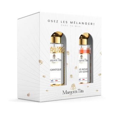 """Coffret cadeau duo MIX AND MATCH. 2 parfums de 30ml """"Enigmatique"""" et """"Pique-nique sur les quais"""" par Margot&Tita. Découvrez une rencontre florale et solaire."""