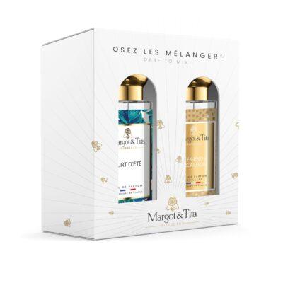 """Coffret cadeau duo MIX AND MATCH. 2 parfums de 30ml """"Week-end à Arcachon"""" et """"Flirt d'été"""" par Margot&Tita. Découvrez une rencontre solaire et fruitée."""