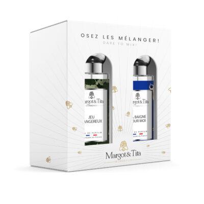 """Coffret cadeau duo MIX AND MATCH. 2 parfums de 30ml """"Jeu dangereux"""" et """"Ça baigne pour moi"""" par Margot&Tita. Découvrez une rencontre aquatique et boisée."""