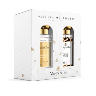 """Coffret cadeau duo MIX AND MATCH. 2 parfums de 30ml """"La femme parfaite"""" et """"Douce féline"""" par Margot&Tita. Découvrez une rencontre florale et orientale."""