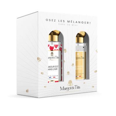 """Coffret cadeau duo MIX AND MATCH. 2 parfums de 30ml """"L'amour est dans l'air"""" et """"Leçon de charme"""" par Margot&Tita. Découvrez une rencontre florale."""
