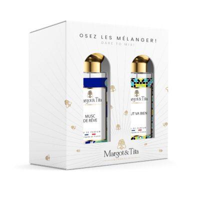 """Coffret cadeau duo MIX AND MATCH. 2 parfums de 30ml """"Musc de rêve"""" et """"Tout va bien"""" par Margot&Tita. Découvrez une rencontre musquée et fruitée."""