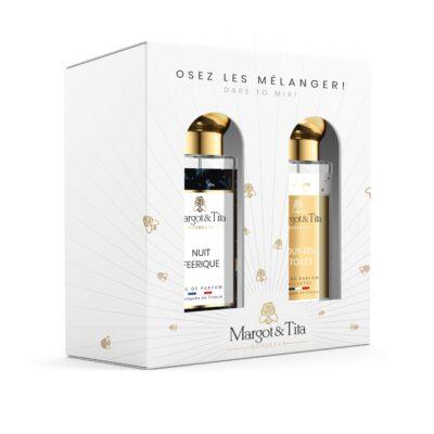 """Coffret cadeau duo MIX AND MATCH. 2 parfums de 30ml """"Sous les étoiles"""" et """"Nuit féérique"""" par Margot&Tita. Découvrez une rencontre gourmande et fruitée."""