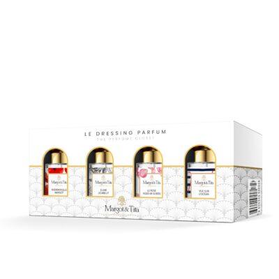 """Mini dressing parfums avec 4 parfums 15ml """"Elixir de minuit"""", """"Mademoiselle Margot"""", """"Vue sur l'océan"""" et """"Le rose vous va si bien"""" par Margot&Tita."""