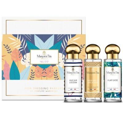 """Coffret cadeau trio Bel été avec 3 parfums 30ml """"Flirt d'été"""", """"Vue sur l'océan"""" et """"Week-end à Arcachon"""" par Margot&Tita. Découvrez des notes fruitées, solaires et marines."""