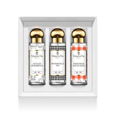 """Coffret cadeau trio Les bordelaises avec 3 parfums 30ml """"Les filles de Bordeaux"""", """"Mademoiselle Tita"""" et """"Pique-nique sur les quais"""" par Margot&Tita. Découvrez des notes florales, orientales et solaires."""