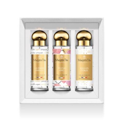 """Coffret cadeau trio Vive les paillettes avec 3 parfums 30ml """"La femme parfaite"""", """"Y'a d'la joie"""" et """"Sous les étoiles"""" par Margot&Tita. Découvrez des notes florales, fruitées et gourmandes."""