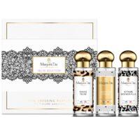 """Coffret cadeau trio Jeu de séduction avec 3 parfums 30ml """"Douce féline"""", """"Je t'aime moi non plus"""" et """"Leçon de charme"""" par Margot&Tita. Découvrez des notes gourmandes et sensuelles."""