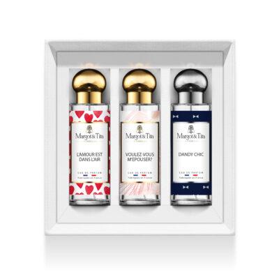 """Coffret cadeau trio Grand jour avec 3 parfums 30ml """"L'amour est dans l'air"""", """"Voulez-vous m'épouser"""" et """"Dandy chic"""" par Margot&Tita. Découvrez des notes sucrées, florales et boisées."""