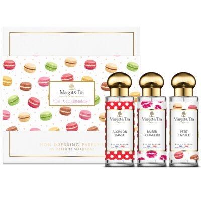 """Coffret cadeau trio Oh la gourmande avec 3 parfums 30ml """"Petit caprice"""", """"Baiser fougueux"""" et """"Alors on danse"""" par Margot&Tita. Découvrez des notes sucrées, fruitées et vanillées."""