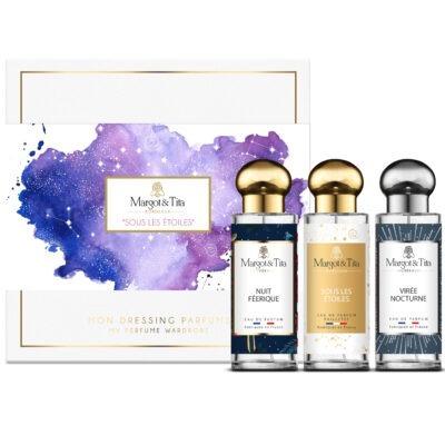 """Coffret cadeau trio Sous les étoiles pour elle et lui avec 3 parfums 30ml """"Nuit féérique"""", """"Sous les étoiles"""" et """"Virée nocturne"""" par Margot&Tita. Découvrez des notes fruitées, gourmandes et boisées."""