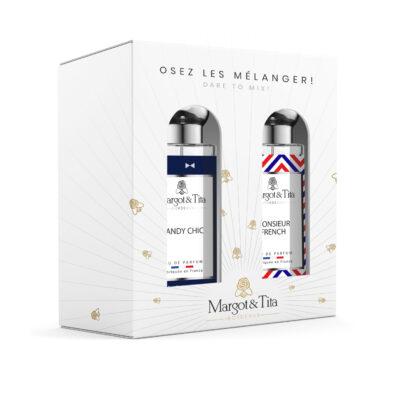"""Coffret cadeau duo MIX AND MATCH. 2 parfums de 30ml """"Dandy chic"""" et """"Monsieur French"""" par Margot&Tita. Découvrez une rencontre boisée."""