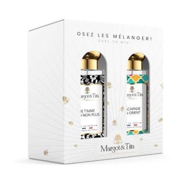 """Coffret cadeau duo MIX AND MATCH. 2 parfums de 30ml """"Je t'aime moi non plus"""" et """"Escapade en Orient"""" par Margot&Tita. Découvrez une rencontre florale et orientale."""