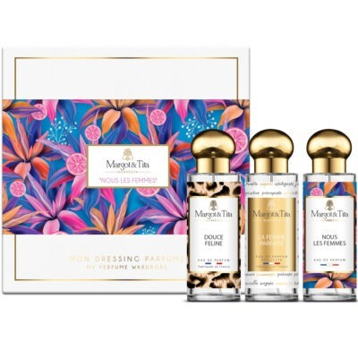 """Coffret cadeau trio Nous les femmes avec 3 parfums 30ml """"Douce féline"""", """"La femme parfaite"""" et """"Nous les femmes"""" par Margot&Tita. Découvrez des notes orientales, florales et fruitées."""