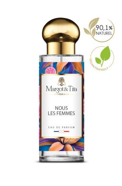 Parfum 30ml Nous les femmes de la marque Margot&Tita. Une senteur fruitée composée en tête de cassis, pomme d'amour, fruit de la passion, en coeur, framboise, rose, jasmin et en fond musc, santal, vanille.