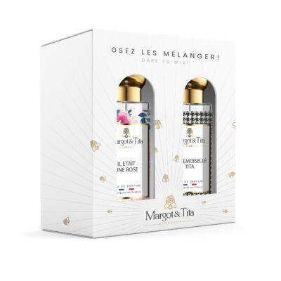 """Coffret cadeau duo MIX AND MATCH. 2 parfums de 30ml """"Il était une rose"""" et """"Mademoiselle Tita"""" par Margot&Tita. Découvrez une rencontre florale et orientale."""
