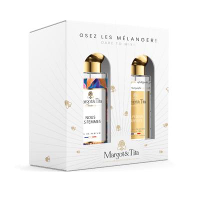 """Coffret duo MIX AND MATCH 2 parfums 30ml """"Voulez-vous m'épouser"""" and """"Vue sur l'océan"""" par Margot&Tita. Découvrez une rencontre fruitée et florale."""
