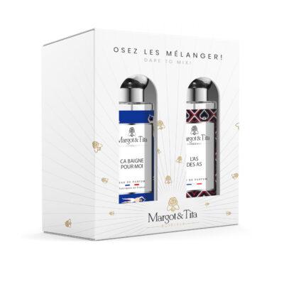 """Coffret duo MIX AND MATCH 2 parfums 30ml """"L'as des as"""" et """"Ça baigne pour moi"""" par Margot&Tita. Découvrez une rencontre boisée, fruitée et aquatique."""